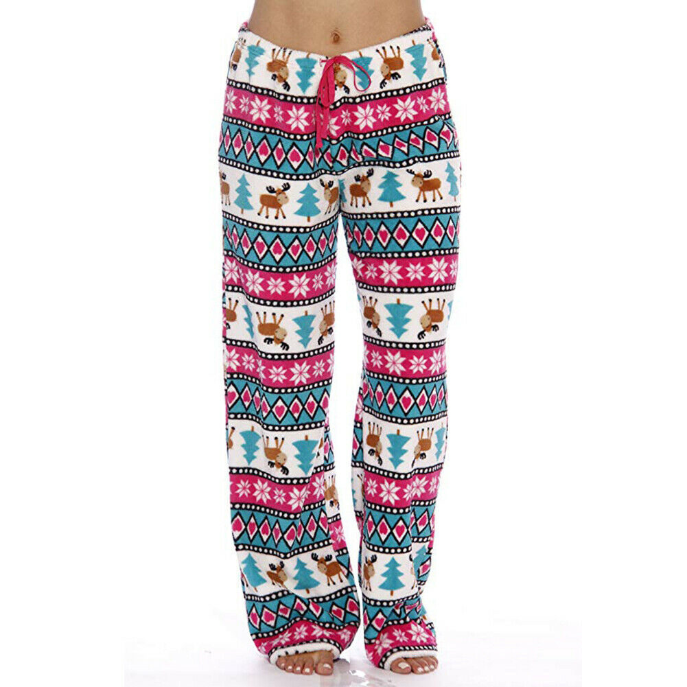 Women Men Unisex Christmas Lounge Pajama Pants Soft Animal Printed Loose Sleep Bottoms Trousers Xmas Deer Prin
