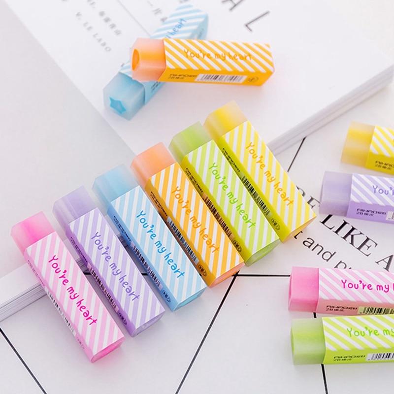 1 Pcs Jelly Color Cute Love Heart Pencil Eraser Long Strip Drawing Quality Pencil Rubber Kids School Supplies Random Color