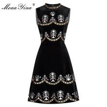 MoaaYina yaz kadın elbise boncuk elmas nakış balo Vintage elbise