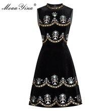 Moaayina 여름 여성의 드레스 구슬 다이아몬드 자수 공 가운 빈티지 드레스
