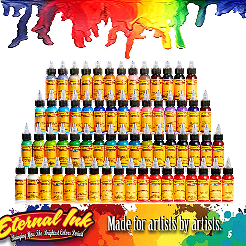 50Pcs Body Painting Eternal Tattoo Ink Set Permanent Makeup Coloring Pigment Eyebrow Eyeliner Tattoo Paint Body Painting Ink Too