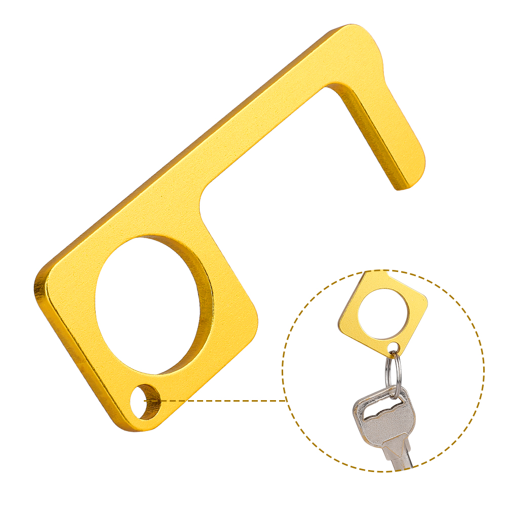 Portable Brass EDC Door Opener Closer Touchless Keep Hands Clean Door Handle Opening Hook For Home/Office Dropshipping