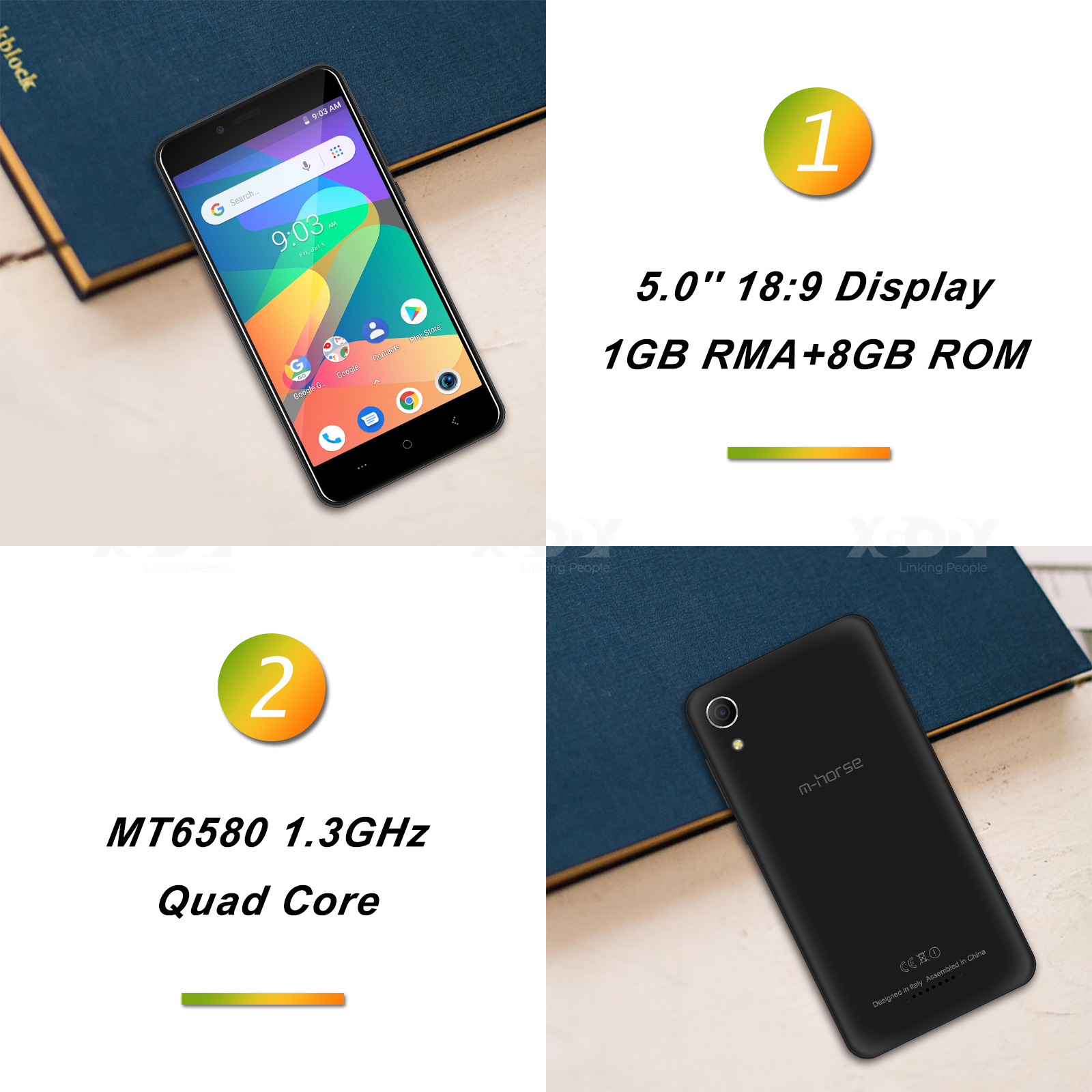 M-HORSE téléphone portable MTK6580 Quad Core Android 8.1 1GB RAM 8GB ROM 3G WCDMA 8.0MP 2000mAh double SIM Smartphone 5 pouces celulaire - 3