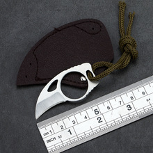 Mini Stainless Steel knife cutter portable Pocket with leather cover toolp hike Outdoor kit karambit claw Cam Survive