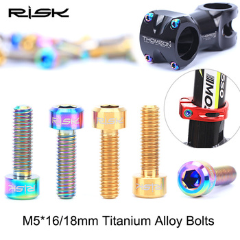 RISK 6PCS M5*16mm / M5x18mm Conehead MTB Bicycle Titanium Stem Bolts Cycling Stem Bolts Road Bike Seat Post Clamp Fixed Screws image