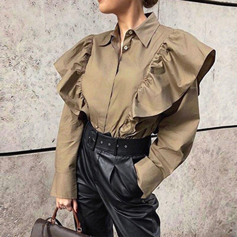 Women Elegant Khaki Ruffle Patchwork Shirt Long Sleeve Office Ladies Button Tops 2020 Spring Autumn Female Casual Loose Shirts