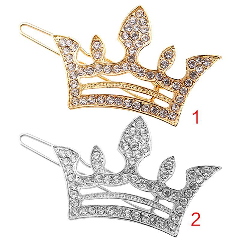 Sweet Princess Geometric Side Bangs Mini Hair Clips Women Hollow Out Tiara Crown Hairpins Glitter Rhinestone Vintage Barrettes