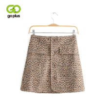GOPLUS Sexy Leopard Print Mini Skirts Womens Fashion 2019 New Arrival Buttons High Waist Women Streetwear A Line Skirt