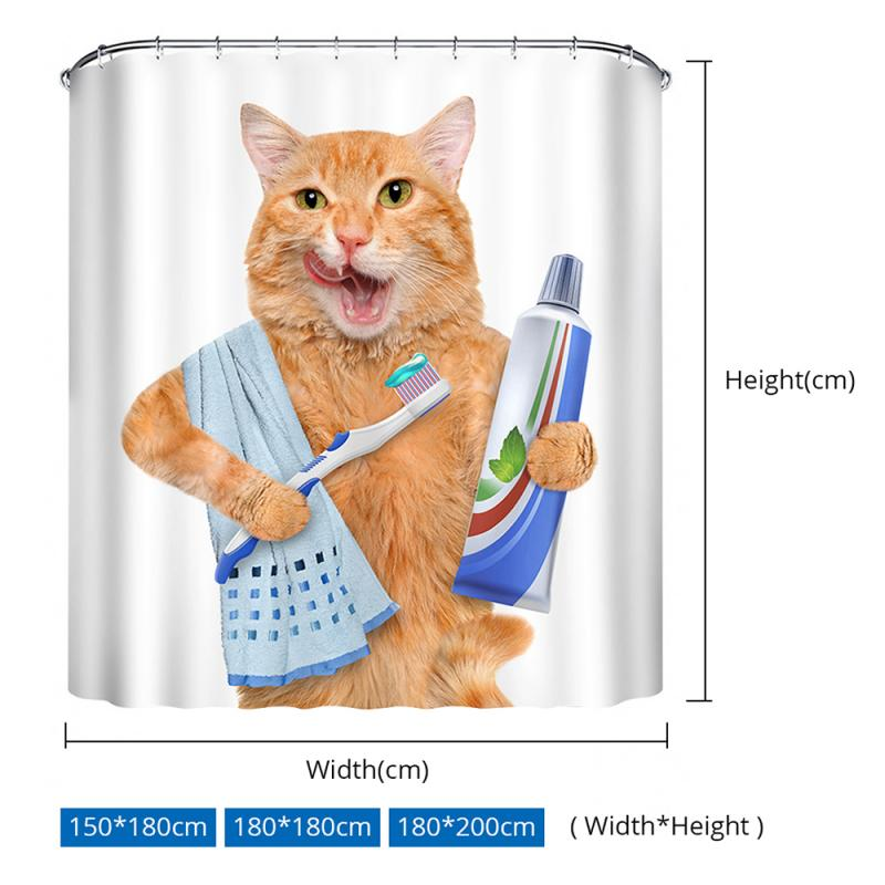 Lovely Cat Printing Shower Curtain Polyester Waterproof Cloth Shower Curtains Bathroom Curtain Bathing Curtain Bath Room Curtain