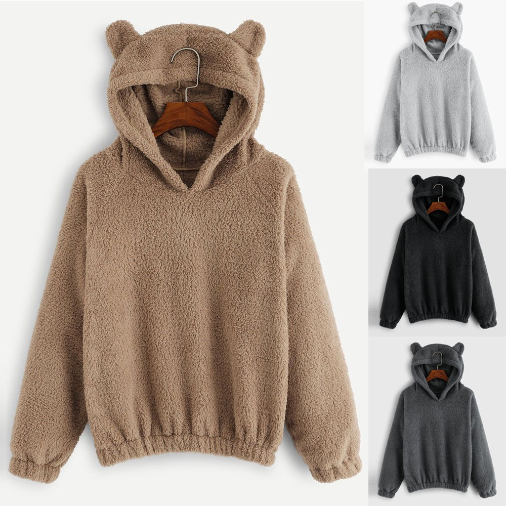 Ladies Fleece Hoodies Sweatshirts Faux Fur Pullover Tops Winter Warm Hoodie Fluffy Coat Women Long Sleeve Sweatshirt #L20