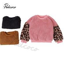Autumn Winter 2-7Years Infant Kids Baby Girls Fuzzy Warm Patchwork Leopard Tops New Fashion Sweater Warm Sweatshirts