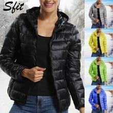 Sfit зимняя женская короткая парка Теплая тонкая короткая стеганая хлопковая куртка с карманами пальто с капюшоном однотонный легкий пуховик