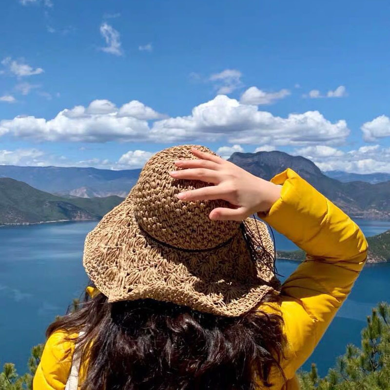 New Women Foldable Roll Up Wide Brim Bowknot Summer Beach Sun Visor Straw Hat Cap