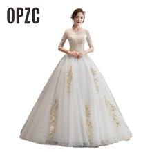 OPZC Fashion Classic New Cheap Half Sleeve sexy O Neck Princess Illusion Wedding Dress Custom Made plus size Vestido De Noiva