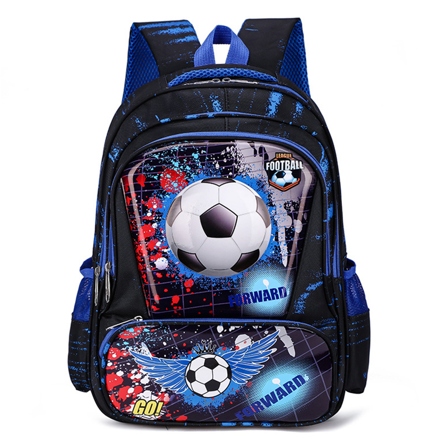 Boys Cars Primary Backpacks Orthopedic Kids Football Print School Bags Waterproof Knapsack Grade 1-3-5 Students Book Satchels