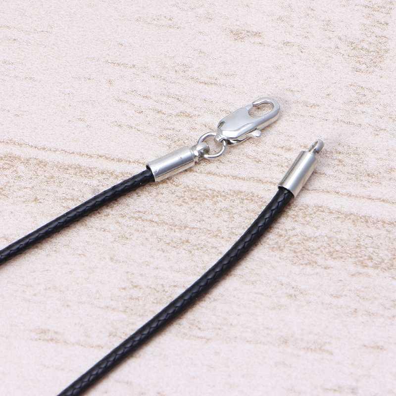 عالية الجودة الحرير الأسود الجلود الحبل سلسلة قلادة حبل مع جراد البحر مخلب المشبك