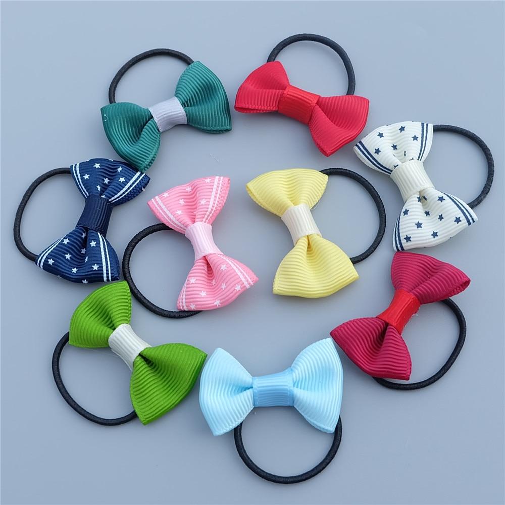 10pcs/set Candy Bow Kids Elastic Hair Bands Girls Princess Headwear Cute Children Ropes Baby Hair Accessories Fashion Headdress