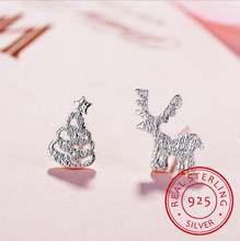 925 sterling silver stud earrings deer christmas tree asymmetrical