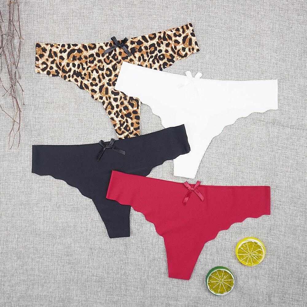 3 шт./лот, бесшовное нижнее белье, трусики, сексуальные стринги с леопардовым принтом, супер тонкие шелковые трусы с низкой посадкой, оптовая ...