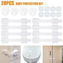 20 Pcs Child Safety Cabinet Lock Straps And Silicone Corner Protectors Adjustable Proofing Kit Plastic Safety Lock Plug Socket