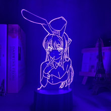 Anime rascal não sonho de coelho menina senpai figura modelo de brinquedo mai figura ação acrílico led night light lâmpada decoração presente