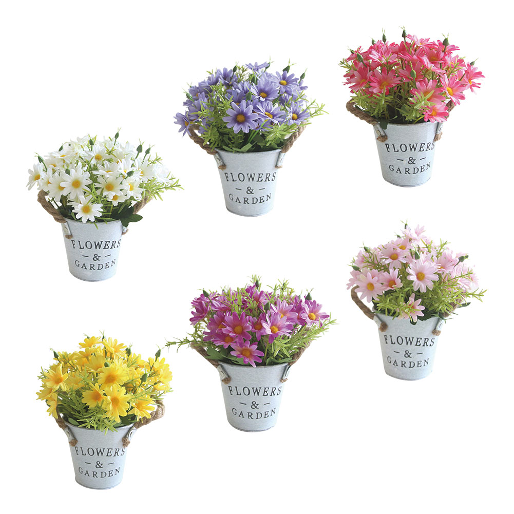 Simulation Silk Flower Small Daisy Potted Dining Table Colorful Plastic V5W4