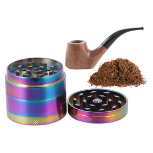 1pc Zinc Alloy Tobacco Grinder Spice Herb Grinder Manual Smoke Breaker Maple Leaf Pattern for Friends (40mm 4 Layers)