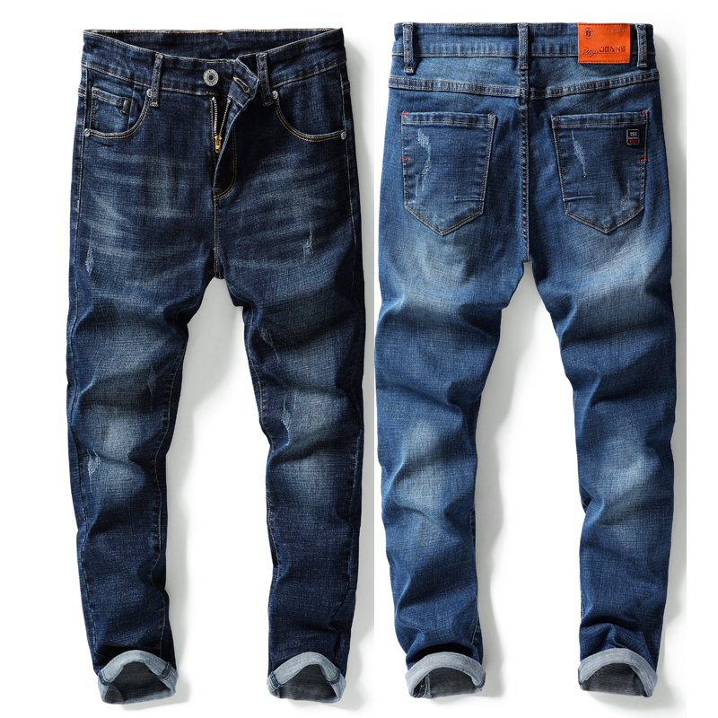 Men's Jeans Classic Style Business Casual Elastic Force Denim Trousers Blue Slim Fit Male Pants Jean