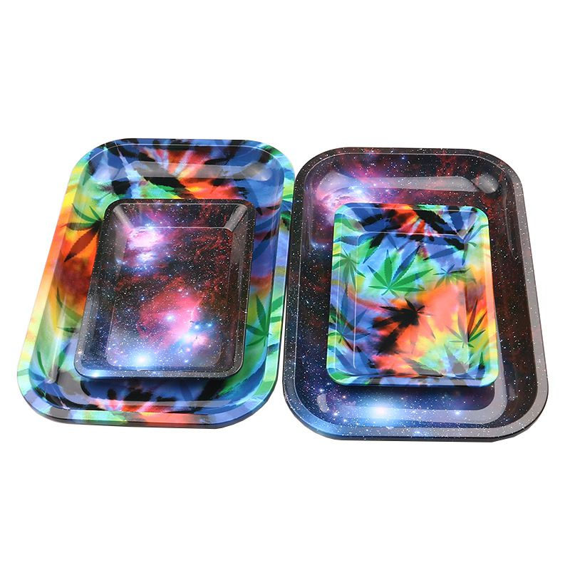 Hot Sale Starry Sky Tobacco Rolling Tray Storage Plate Discs For Smoke Bob Marley Weed Herb Grinder Cigarette Container Tray New in Tobacco Pipes Accessories from Home Garden