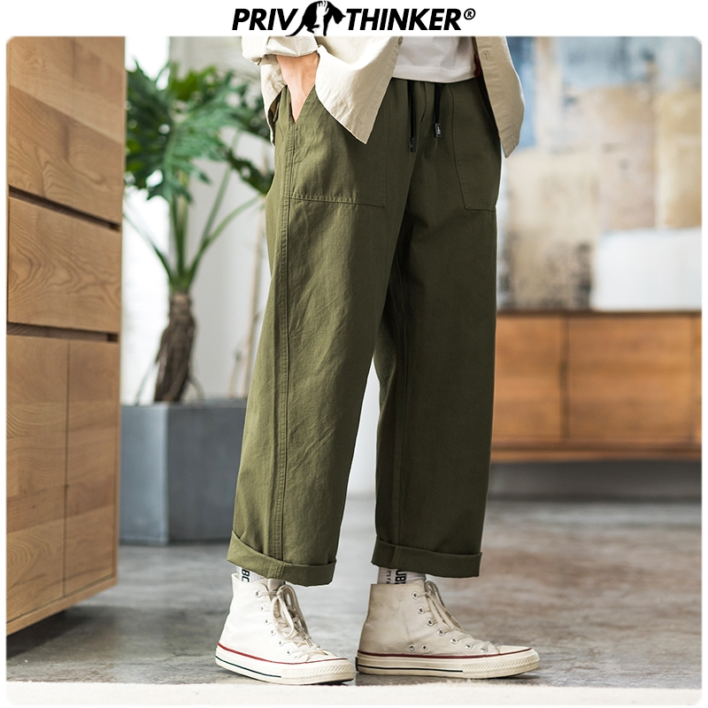 Privathinker Men Autumn Vintage Army Green Joggers 2019 Mens Loose Srraight Slim-fit Pants Male Fashion Streetwear Cargo Pants
