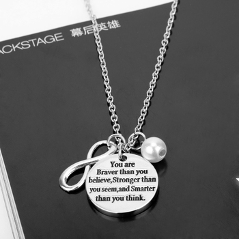 Necklace Jewelry You are braver than you believe Stronger than you seem Smarter than you think Inspiration Gift for Teens image