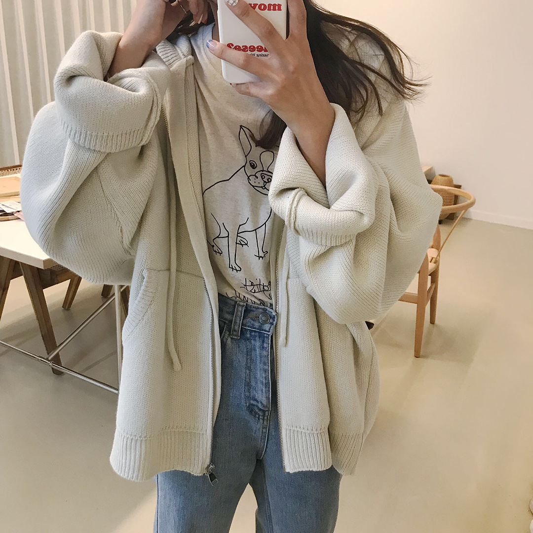 Autumn Sweatshirt Lazy Wind Candy colored Loose Solid Color Pocket Hooded Zipper Knit Tide 2019 Women Clothing Black Sweatshirt in Hoodies amp Sweatshirts from Women 39 s Clothing