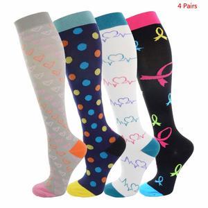 Image 1 - Unisex meias de compressão para homem e mulher 4 pares 15 20 mmhg protetor de perna de enfermagem médica correndo ciclismo meias de náilon