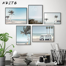 Poster de viagem tropic hawaii praia ônibus prancha palmeira paisagem pintura da lona arte da parede imagem moderna decoração para casa
