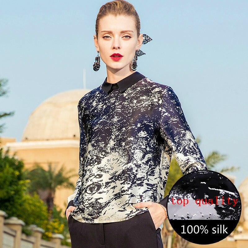 Camisa de las mujeres 100% Real pura blusa de seda de las mujeres de la ropa 2020 Coreana de primavera elegante blusas Mujer Tops OL camisetas ZT2254