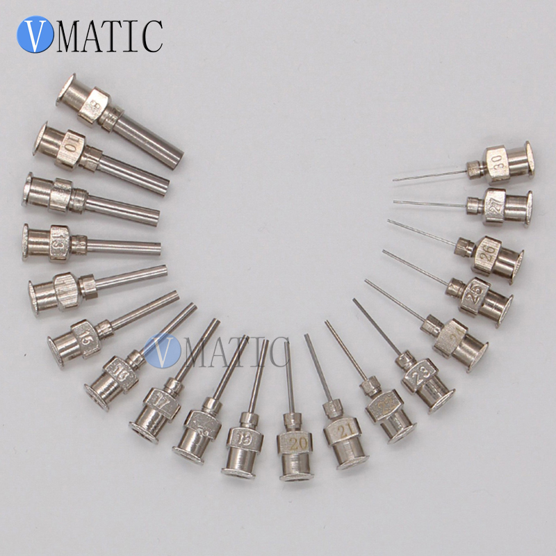 Free Shipping 12Pcs Precision All Metal Needle Tips Blunt Stainless Steel Dispensing Needles Glue Syringe Needle Tips 1/2 Inch