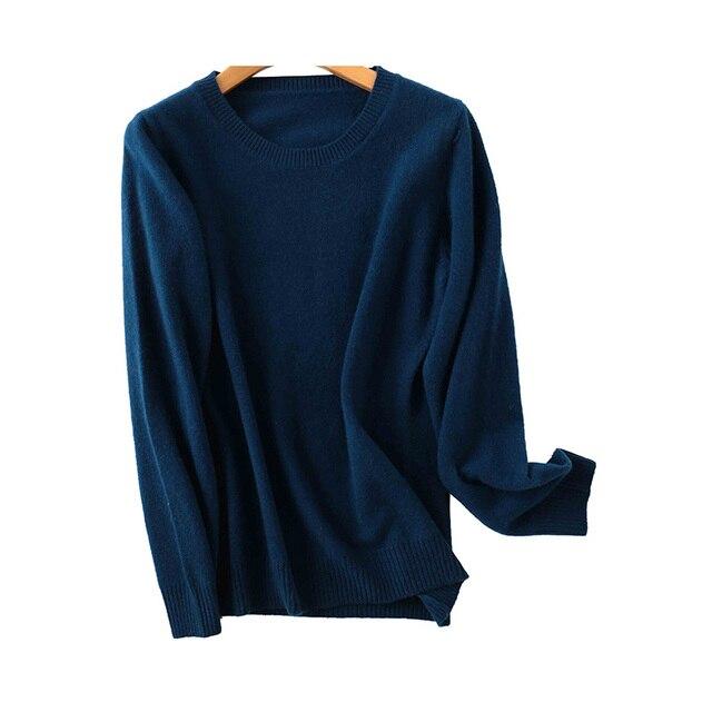 100% Merino Wool Cashmere Sweater Women 2020 Autumn Winter Warm Soft O-Neck Long Sleeve Knitted Pullover Jumper Femme Sweater 4