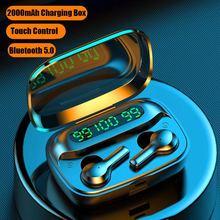 Mini TWS Wireless Bluetooth Headphones V5.0 Touch Control Earphones Stereo HD ta