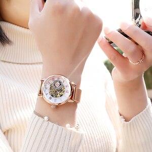 Image 5 - Reloj mecánico automático de acero inoxidable para Mujer, cronógrafo de plata 2019, con correa de acero inoxidable
