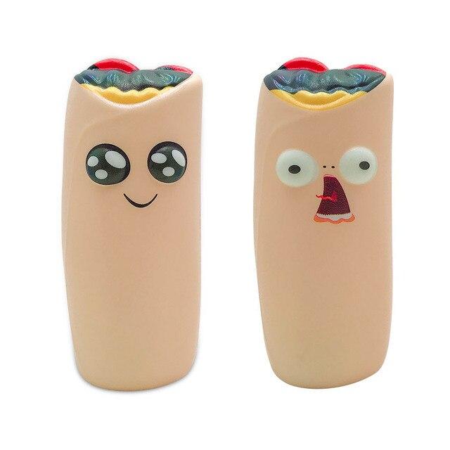 2 PCS/Set Jumbo Kawaii Throw Throw Burrito Squishy Doll Slow Rising Stress Relief Squeeze Toys for Baby Kids Xmas Gift 13*5.5 CM