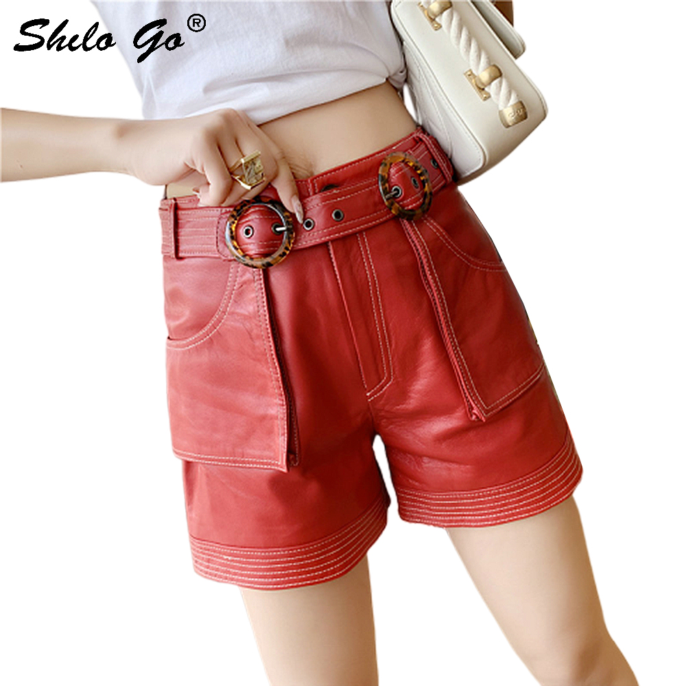 Genuine Leather Shorts Red Highstreet Buckle Belted High Waist Shorts Women Autumn Casual Solid Side Pocket Straight Mini Shorts