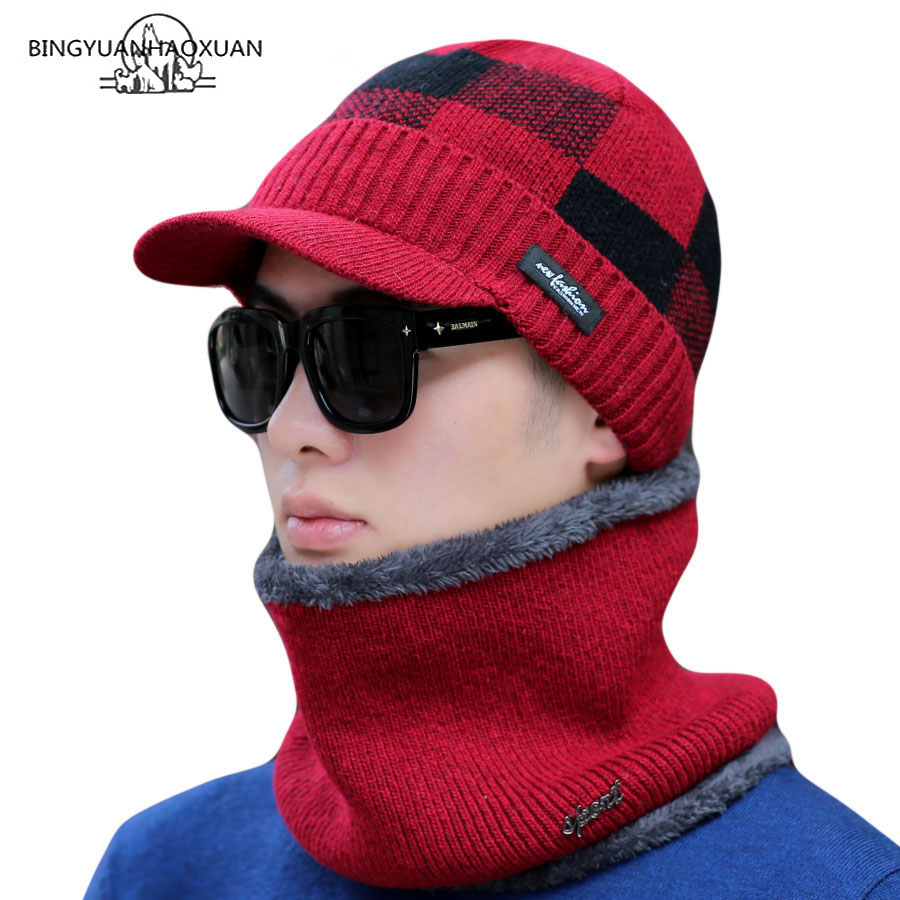 New Winter Hats For Men High Quality Casual Skullies Winter Hat Wool Scarf Neck Warmer Beanie Hat Design Stripe Knitted Hat