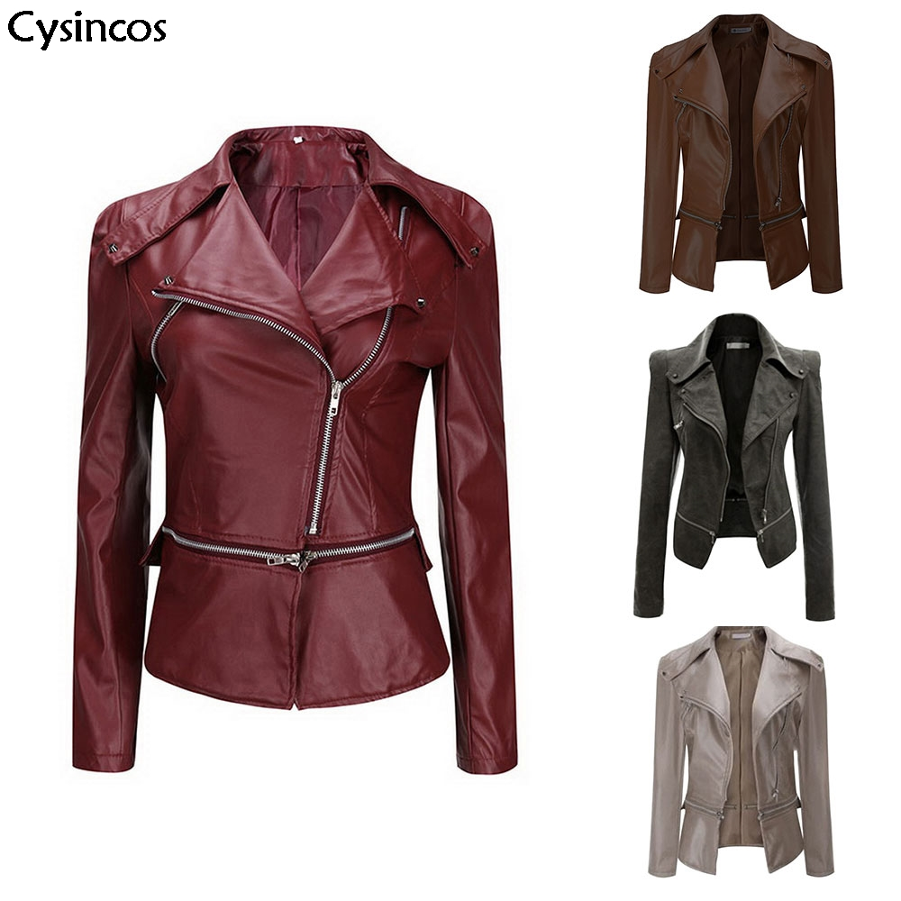 2019 Autumn Winter Casual Tops Outfit Ladies Women PU   Leather   Jacket Turn-down Collar Coat Zip Biker Motorcycle Outerwear Jacket