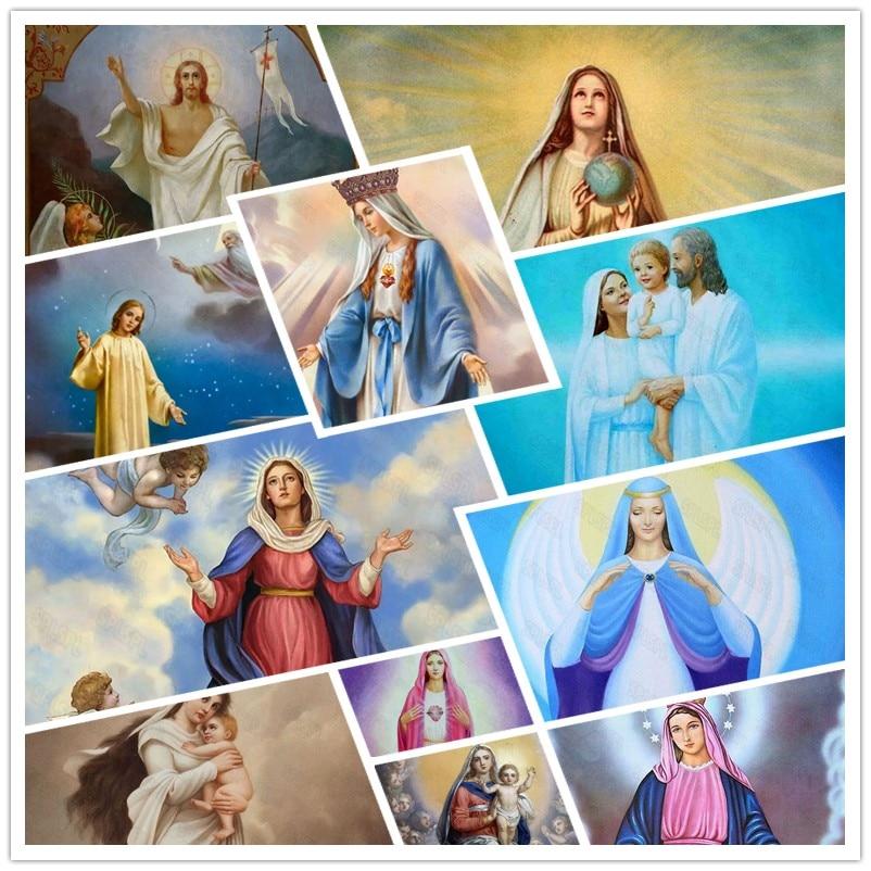Diy Diamond Painting Western Religion Female Believer Saint Nun Virgin Jesus God Religious Belief Decoration Poster
