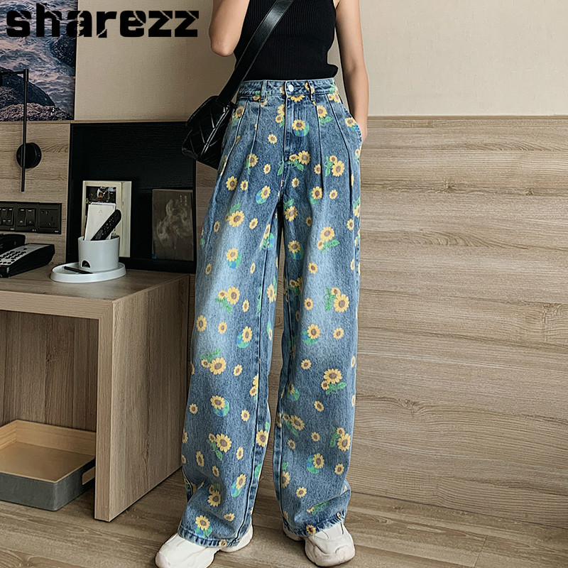 Sharezz Wide Leg Jeans For Women Blue Loose Fashion High Waist New Baggy Pants Casual Jeans Large Size Straight Wide Leg Pants