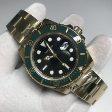 лучшая цена Men Mechanical gold Watch Automatic Date ceramic bezel Luxury Brand Submariner Diver Male Luminous rlx Wristwatches