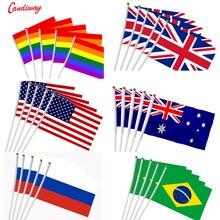 5 sztuk kij flaga USA 14*21 cm ręczny mini flaga z biały słup żywy kolor i odporne na blaknięcie ręczny kij flagi