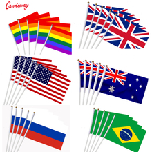 5pcs Stick FLAG USA 14*21 ซม.มือถือ Mini FLAG สีขาว POLE Vivid สีและ Fade กันน้ำมือถือ Stick Flags