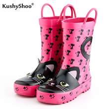 KushyShoo dziecięce Kalosze dziewczyna Kalosze z 3D różowe koty wzory Dzieci piękne Rainboots buty do wody Kalosze Dla Dzieci