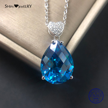 Shipei Water Drop Necklace Blue 925 Silver Fine Jewelry 925 Sterling Silver Aquamarine Teardrop Pendant Necklace Wedding Gift недорого